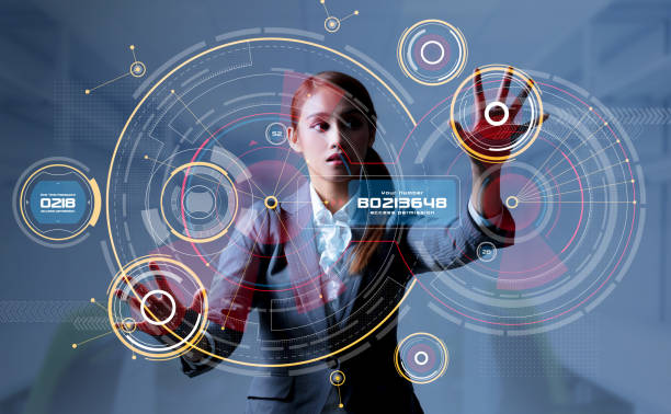 Young woman and head up display. HUD. GUI. Internet of Things(IoT). stock photo