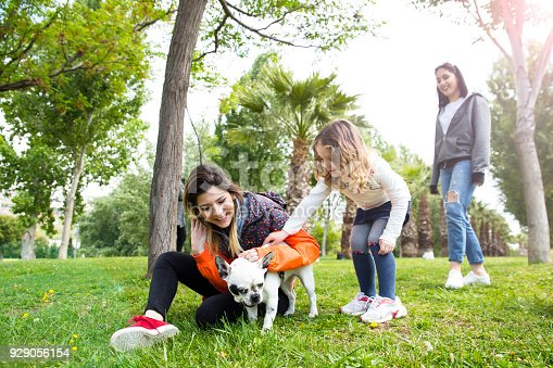 istock Young woman and her dog enjoying in the nature 929056154