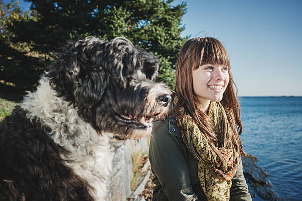 Young woman and her Dog stock photo
