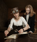 istock Young woman and man in vintage steampunk-style dressing 170535278