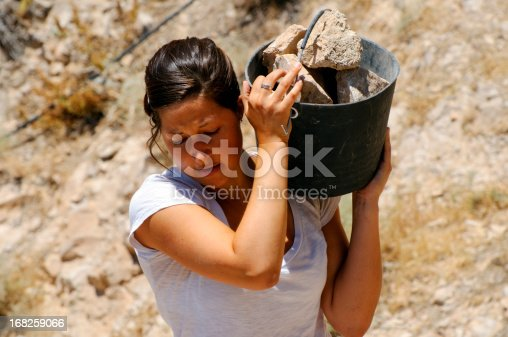 istock Young woman and manual labor 168259066