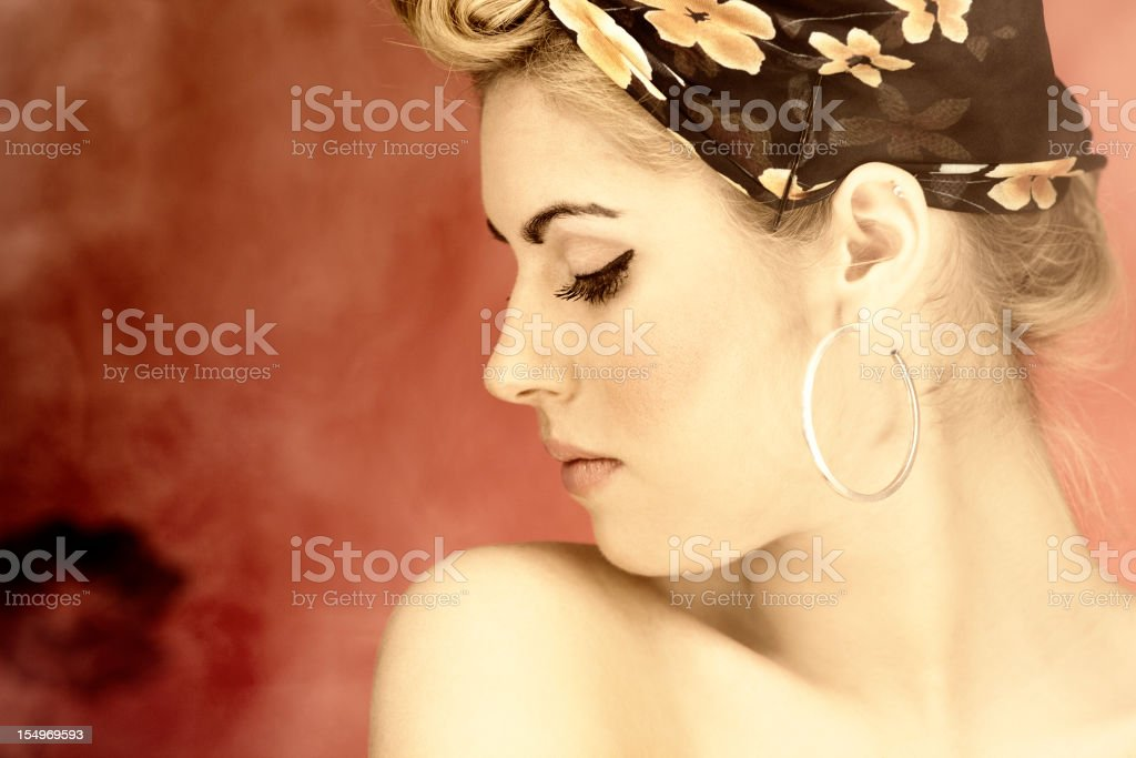 Young Woman And Smoke royalty-free stock photo