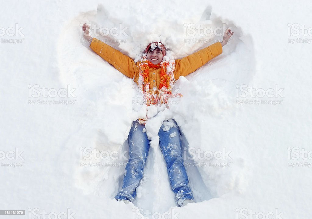 Young woman and snow stock photo