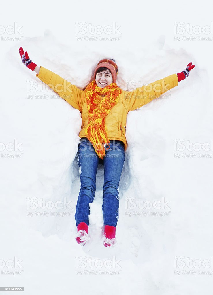 Young woman and snow royalty-free stock photo