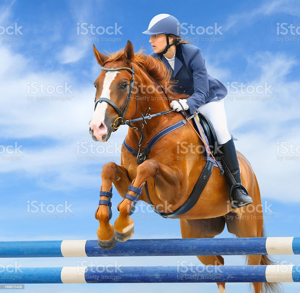 Young woman and sorrel stallion jumping for equestrian sport stock photo