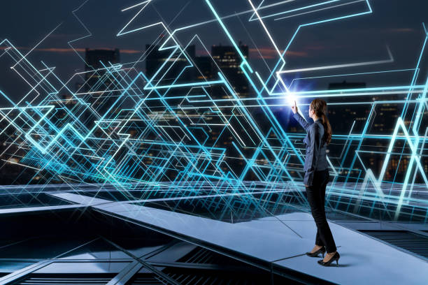 Young woman and system network concept. stock photo