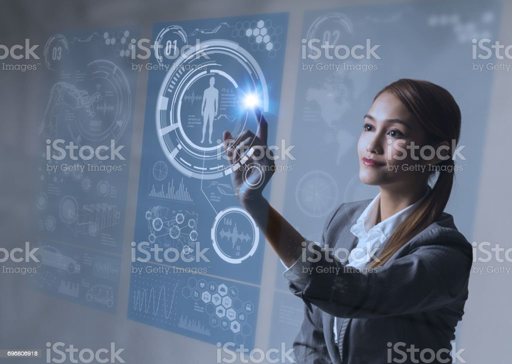 young woman and touching stereoscopic vision - foto stock