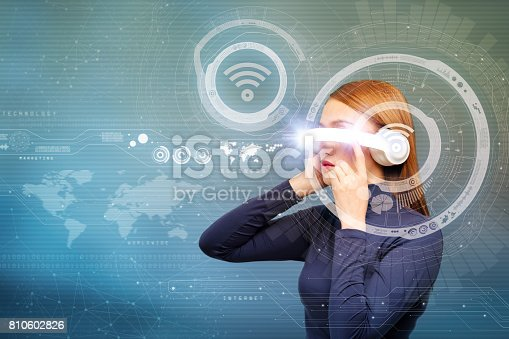 istock young woman and wearable device concept, wireless communication network, information communication technology, abstract image visual 810602826