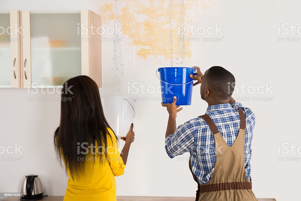 Young Woman And Worker Collecting Water In Bucket From Ceiling stock photo