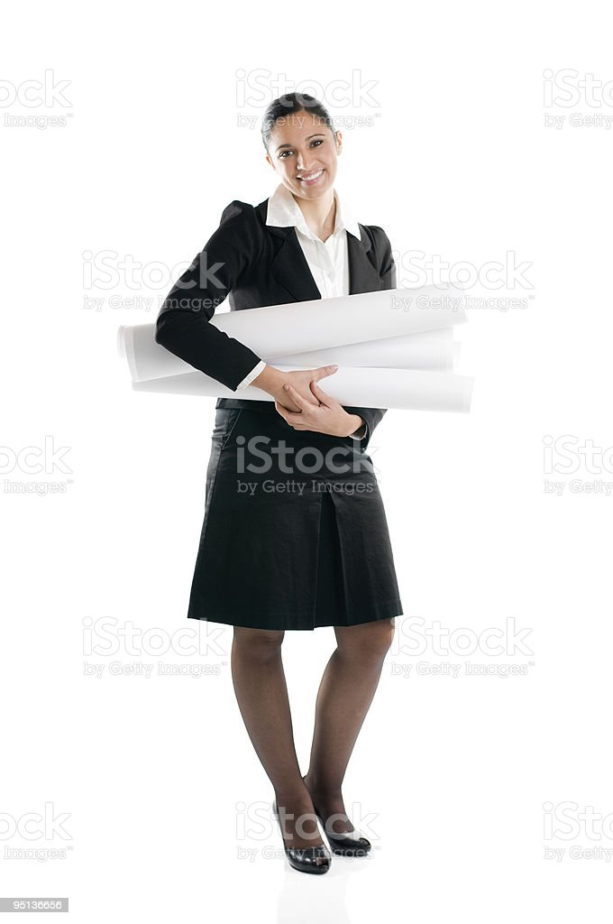 Young woman architect full length royalty-free stock photo