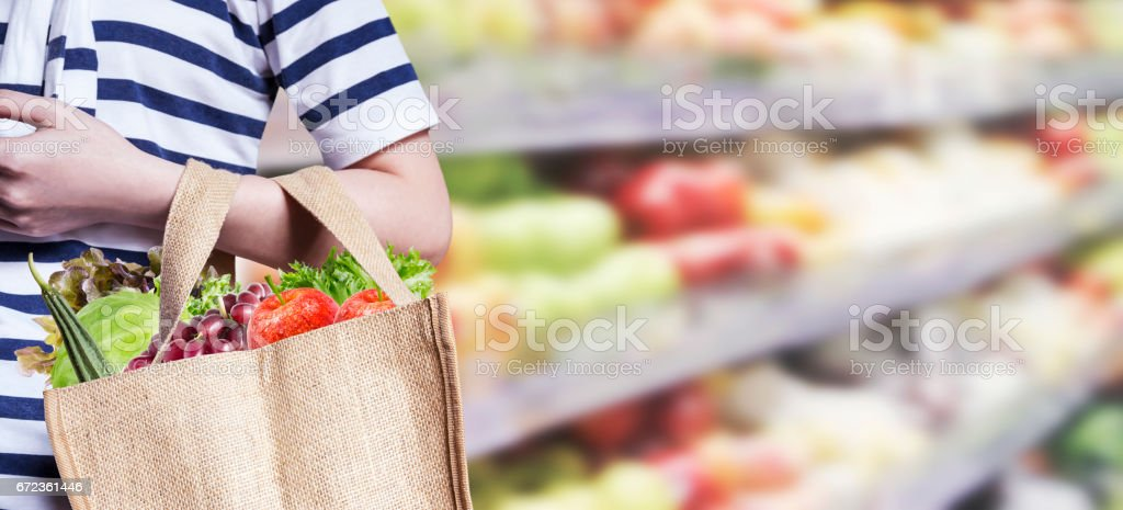 Young woman are shopping in the supermarket stock photo