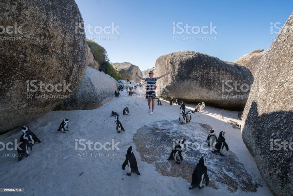 Young woman arms outstretched in penguins colony stock photo