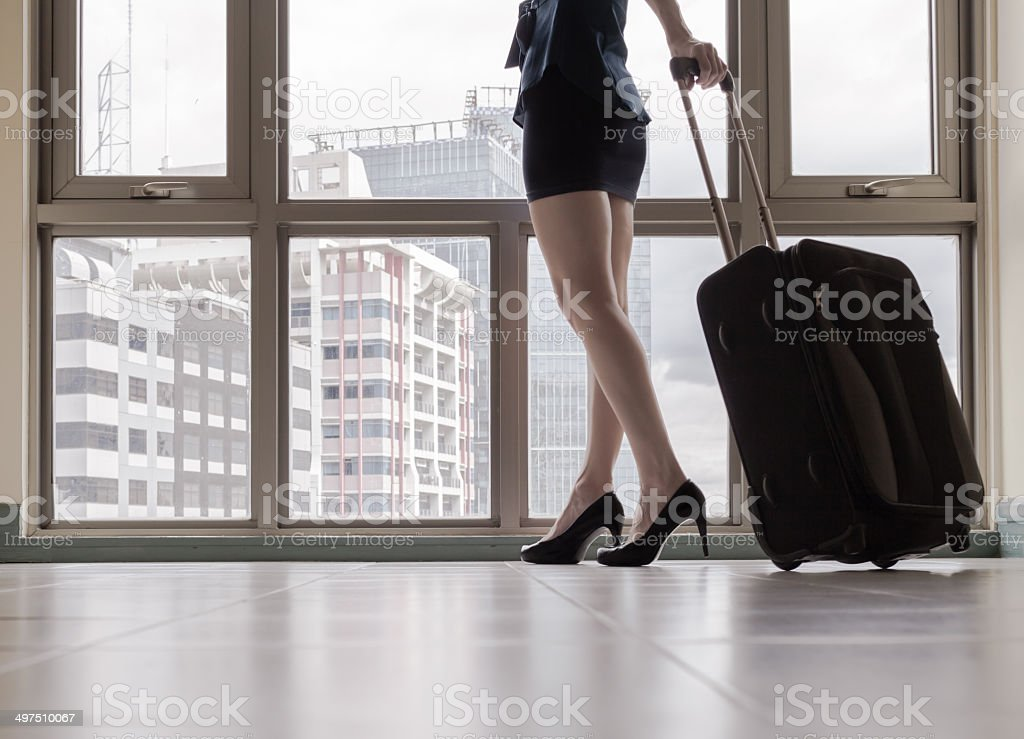 Young woman arriving in a new city. royalty-free stock photo