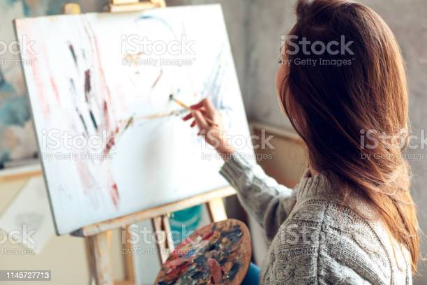 Young woman artist painting at home creative abstract picture picture id1145727713?b=1&k=6&m=1145727713&s=612x612&h=g7wulzbms wyseq41n y3n ajqacm7fdgg5npgu lou=
