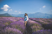 Young woman at a lavender field