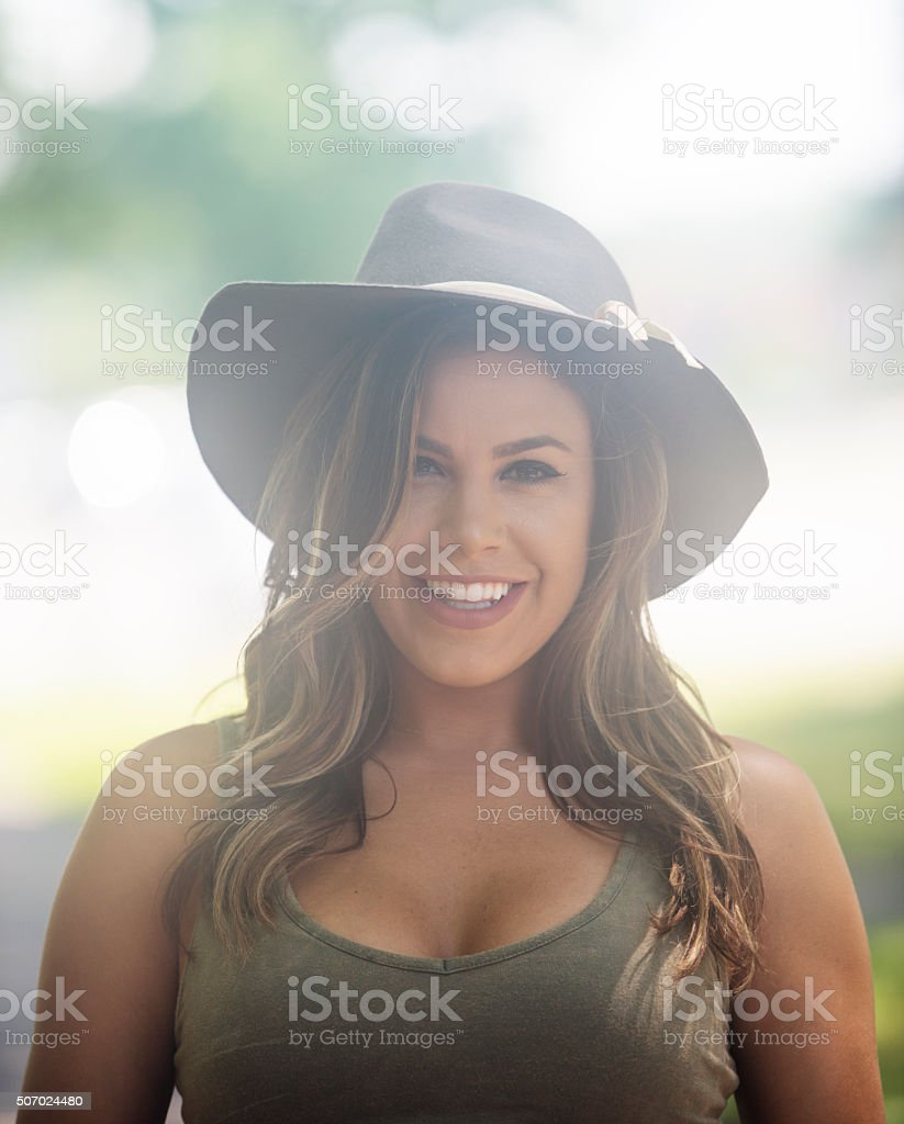 Young woman at a park stock photo