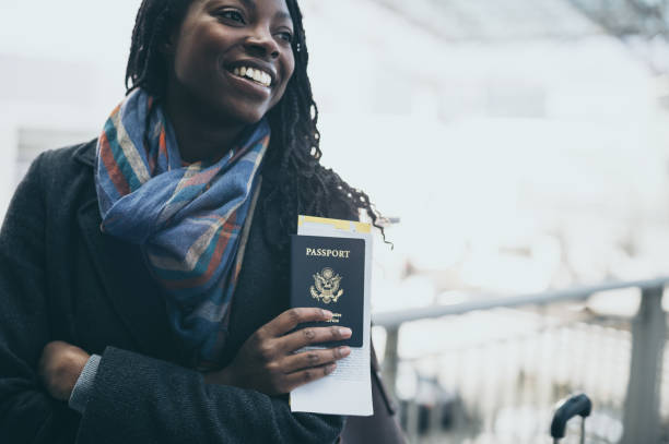 Young woman at airport stock photo