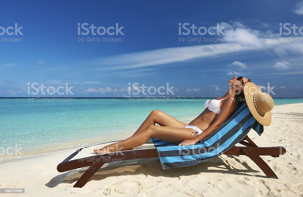 Young woman at beach royalty-free stock photo