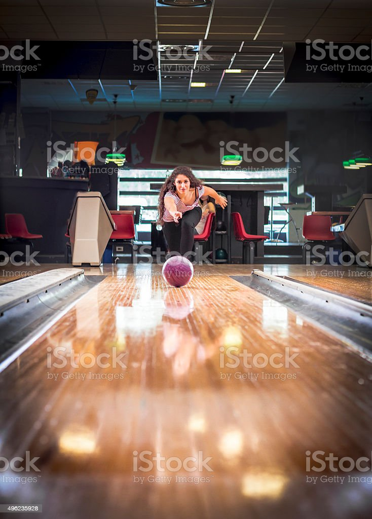 Young woman at bowling stock photo