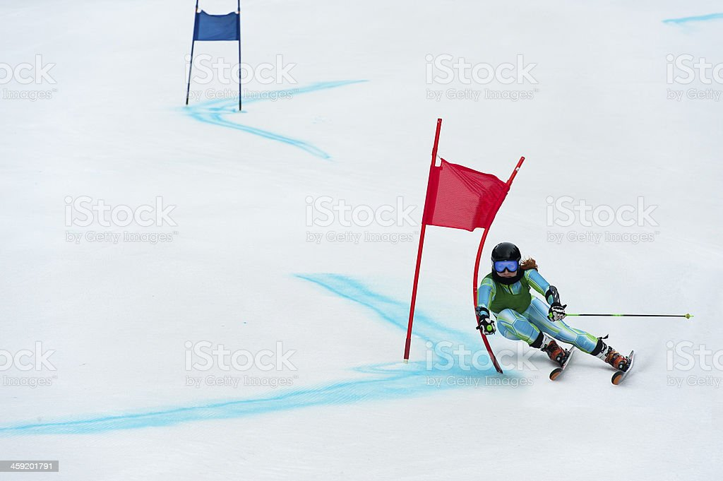 Young Woman at Giant Slalom Ski Race stock photo
