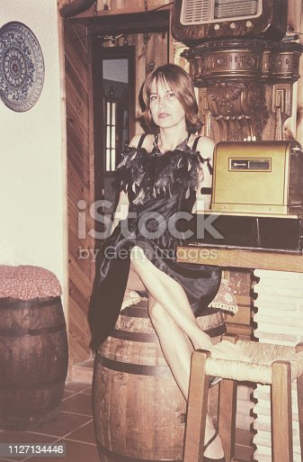 Young woman at party in 1968