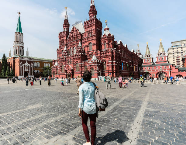 Young woman at red square Young woman at red square moscow russia stock pictures, royalty-free photos & images