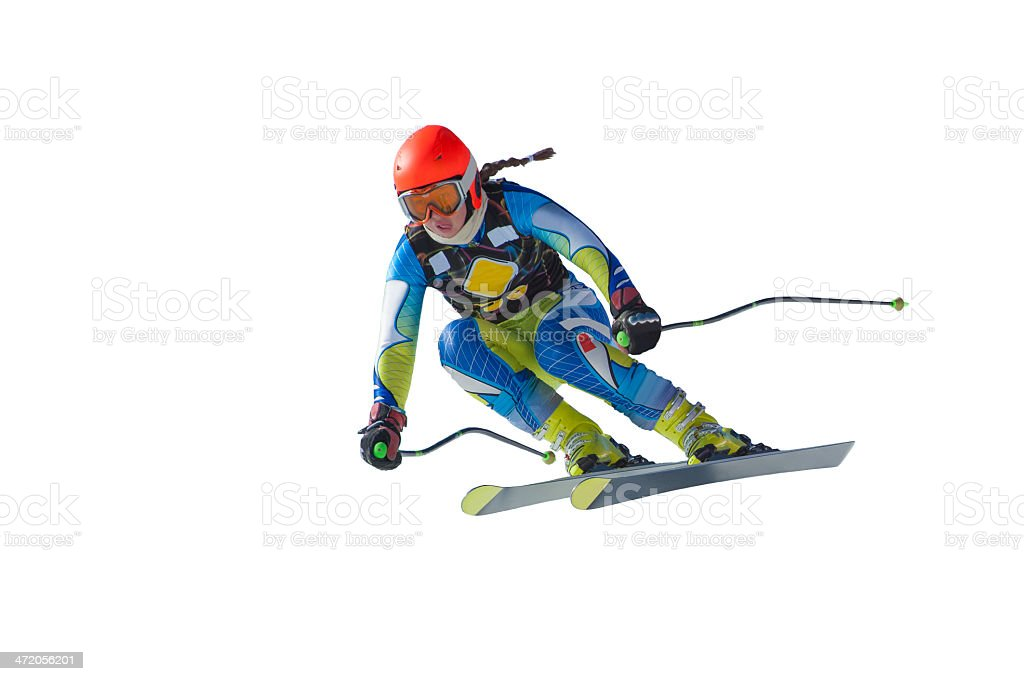 Young Woman at Ski Race on White Background stock photo