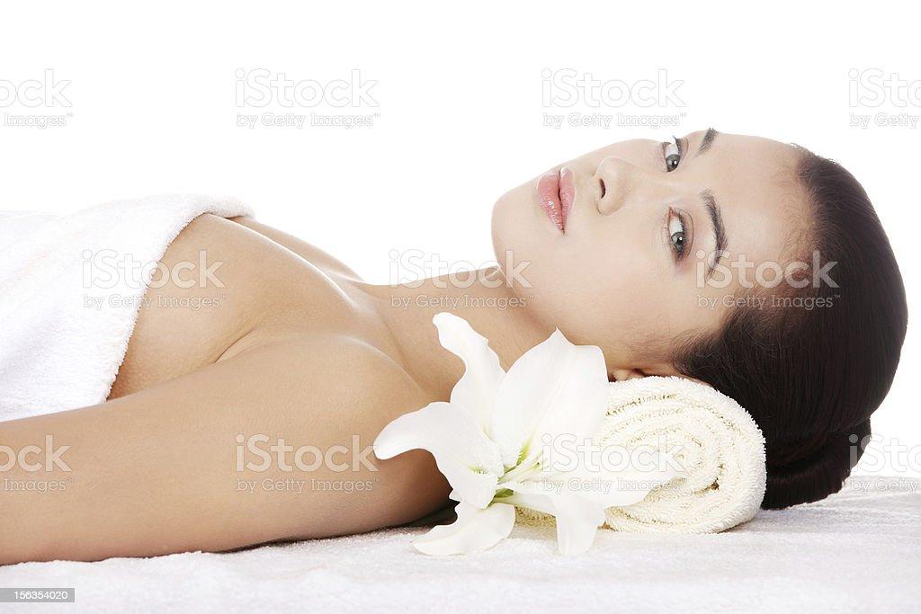 Young woman at spa sloon royalty-free stock photo