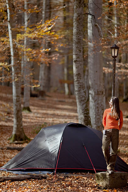 Young Woman at still Down Near Tent stock photo
