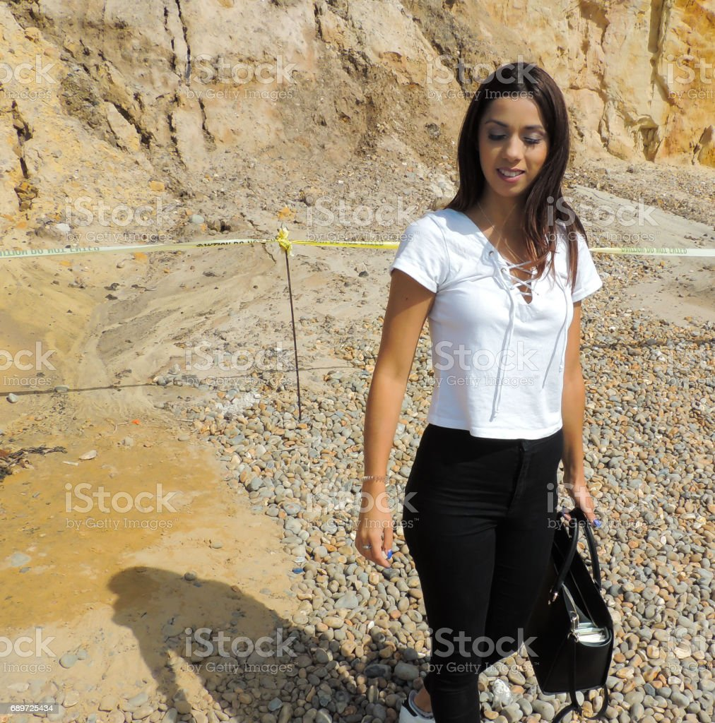 Young Woman at the Beach stock photo