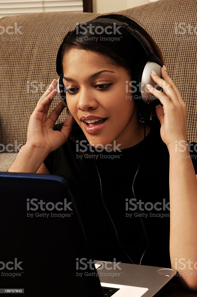 Young woman at the computer royalty-free stock photo