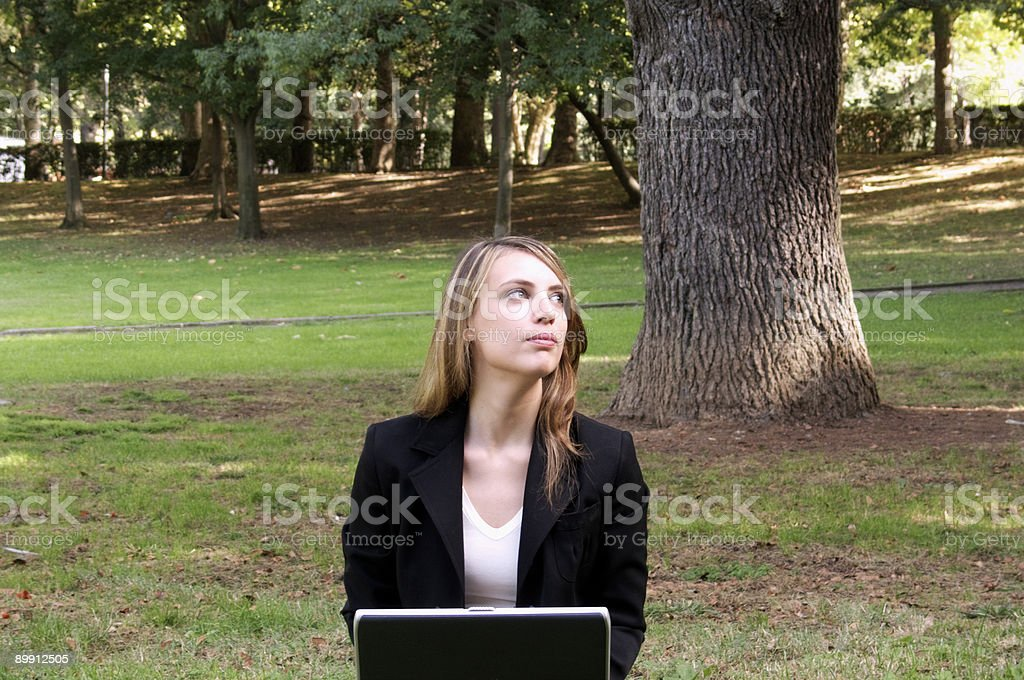 Young woman at the laptop royalty-free stock photo