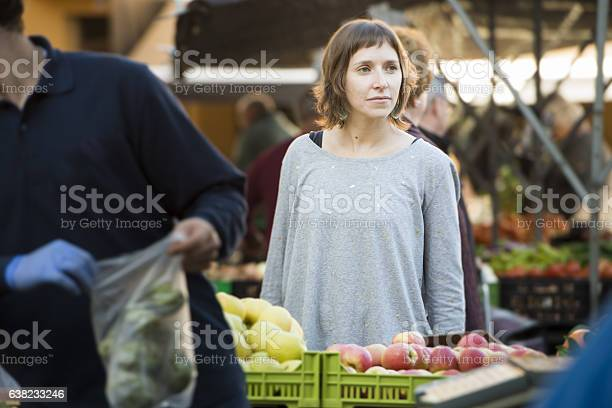 Young Woman At The Organic Farmersmarket Stock Photo - Download Image Now