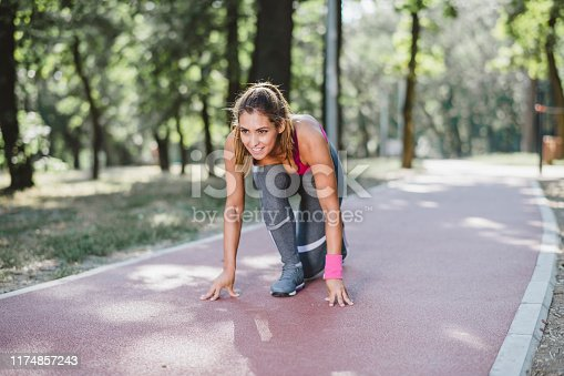Young woman athlete jogging