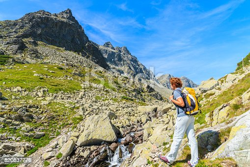 istock Young woman backpacker looking at waterfall in summer landscape of High Tatra Mountains, Slovakia 820837776