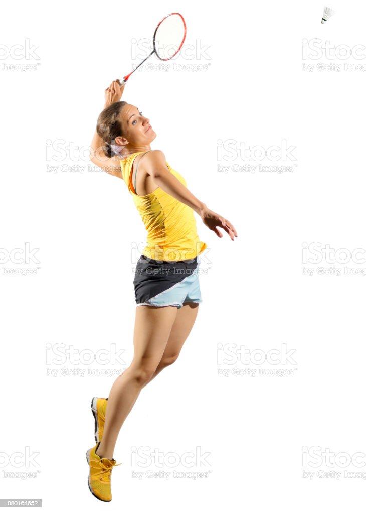 Jugador de bádminton de mujer joven aislado - foto de stock