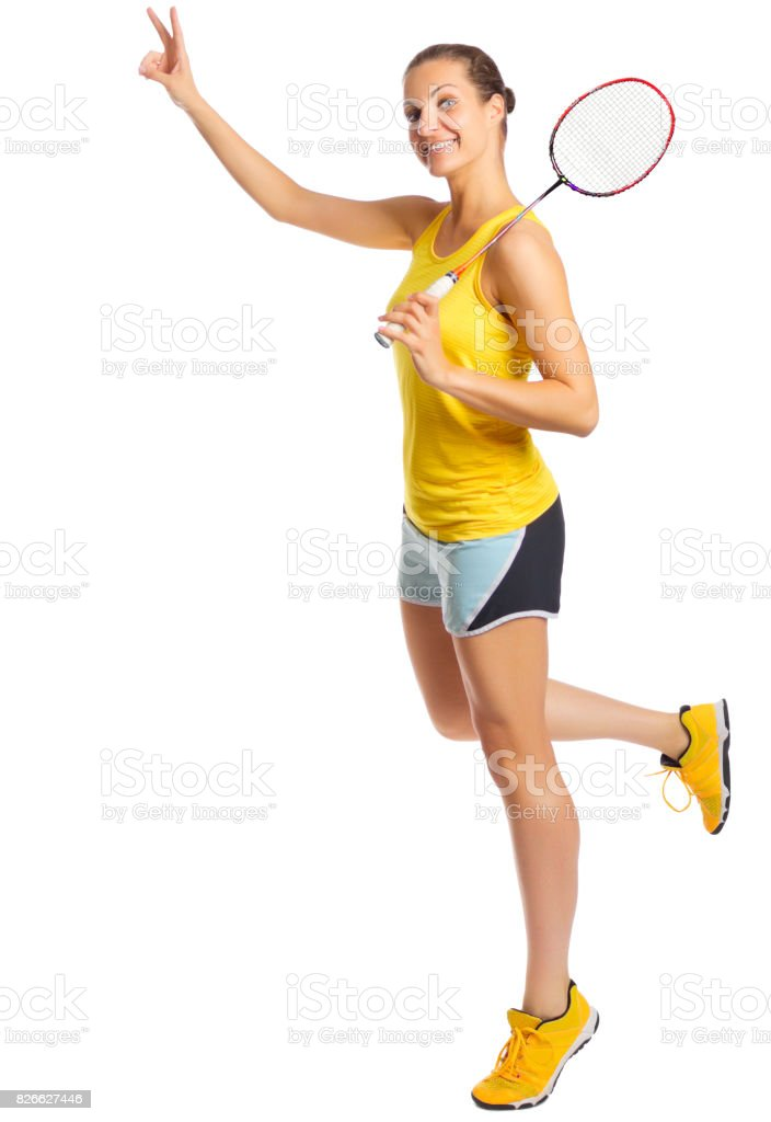 Young woman badminton player stock photo