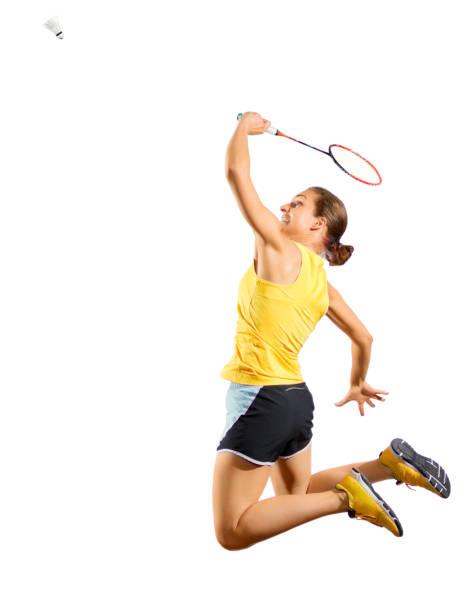 jugador de bádminton de mujer joven (versión con volante) - bádminton deporte fotografías e imágenes de stock