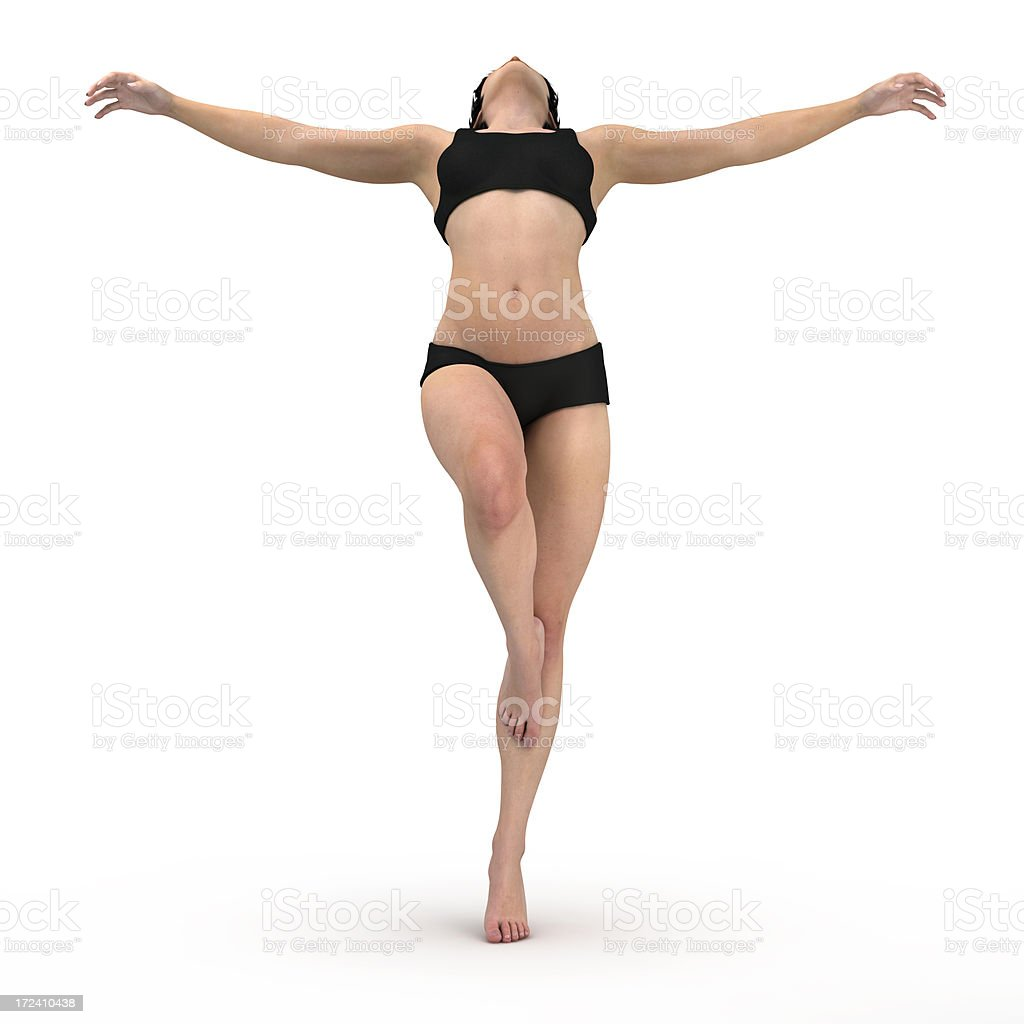 Young woman balanced on one leg royalty-free stock photo