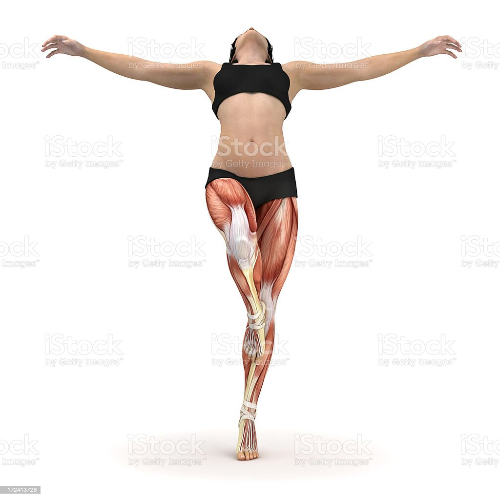 Young woman balanced on one leg, showing the muscles royalty-free stock photo