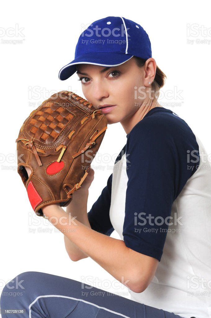 Young Woman Baseball Player Isolated on White Background royalty-free stock photo