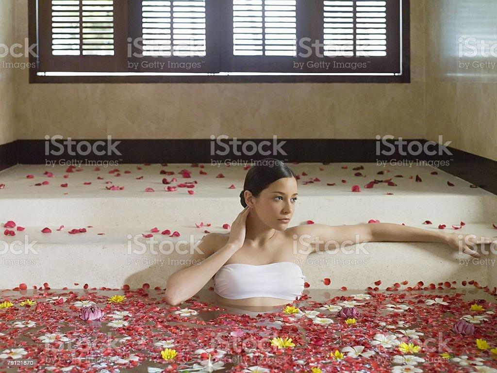 Young woman bathing 免版稅 stock photo