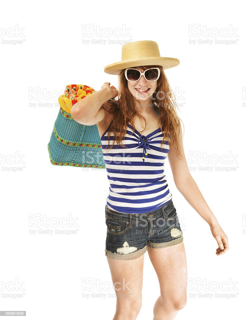 Young Woman Beach Vacation Holiday on White Background stock photo
