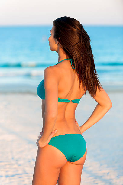 Young Woman Bikini Model at Beach stock photo