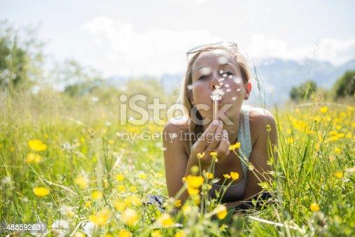 Beautiful young woman blowing Dandelion seeds in the field. Horizontal Shot.