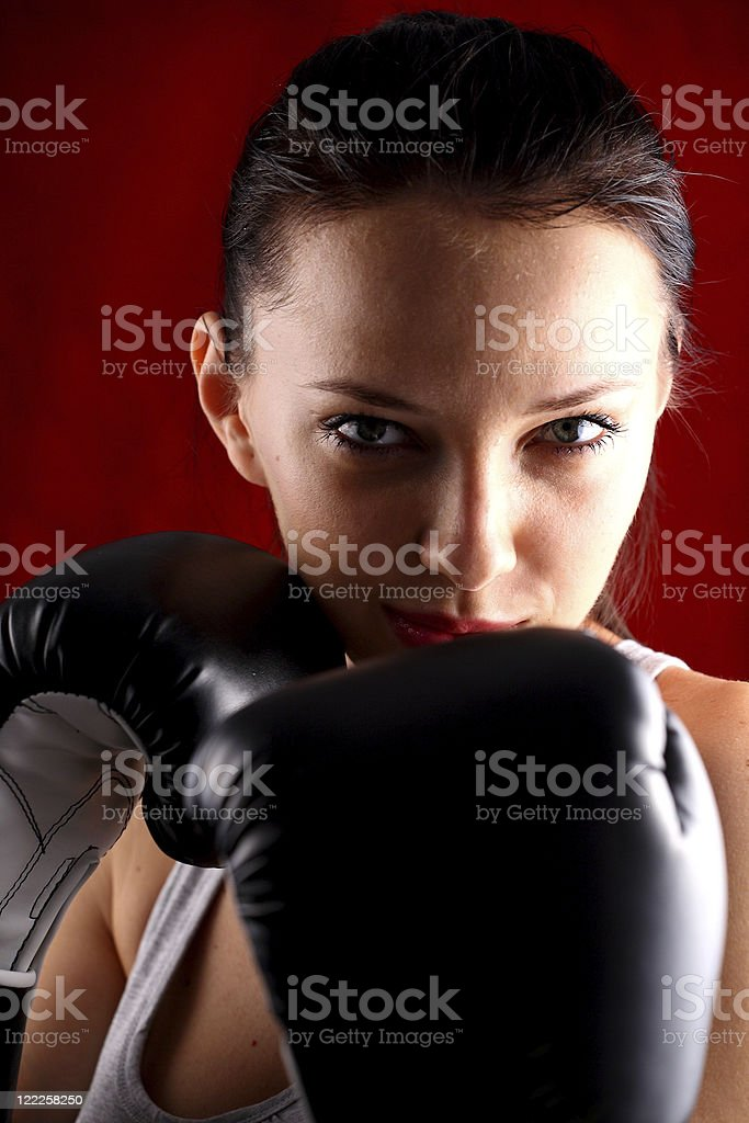 Young woman boxing royalty-free stock photo