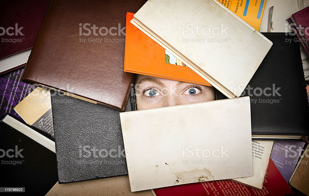 Young Woman Buried in School Books stock photo