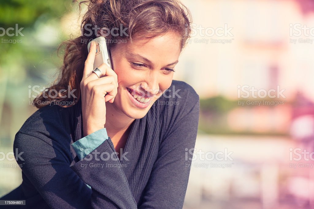young woman calling outdoors royalty-free stock photo