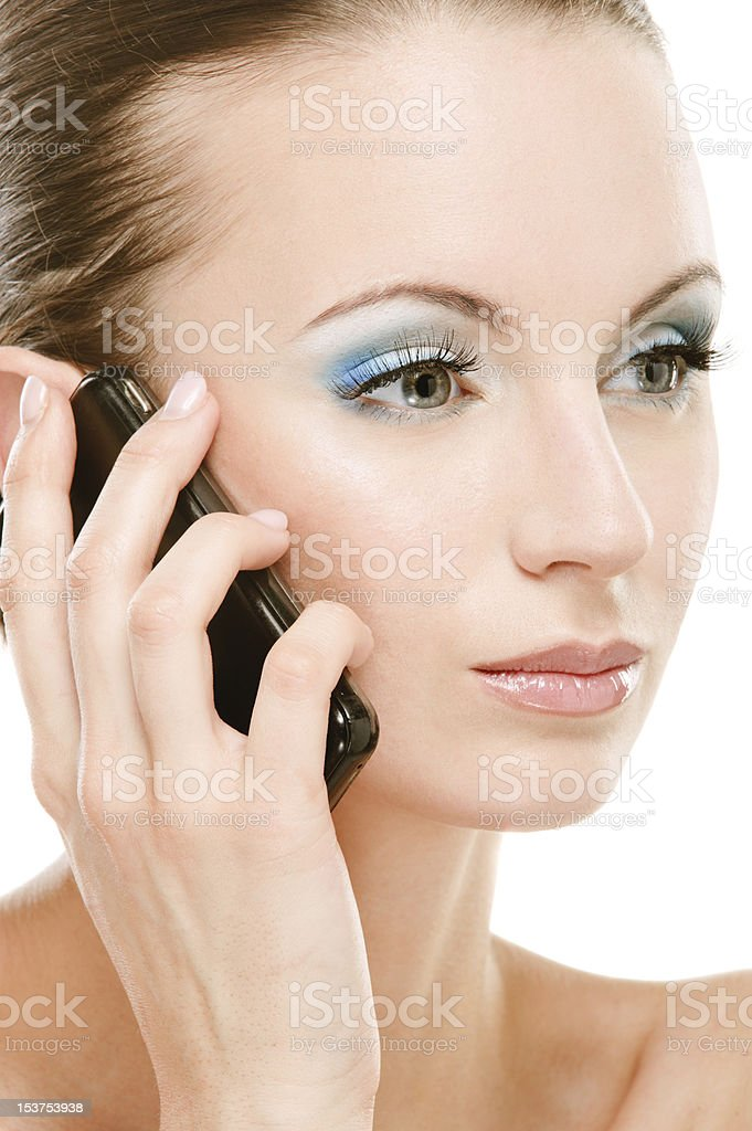 Young woman calls on cellular telephone royalty-free stock photo