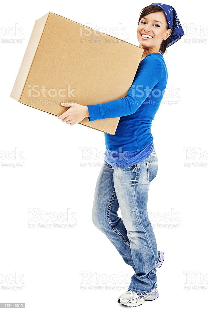 Young Woman Carrying Large Cardboard Moving Box royalty-free stock photo